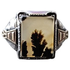 1930s Art Deco Dendritic Agate Sterling Silver Ring with 10K Gold Side Panels