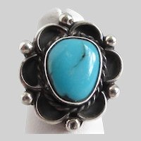 Vintage Navajo Silver and Turquoise Ring,  Size 4 U.S.