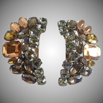 Gorgeous, Large, Grey and Light Topaz 'Bluette' Signed Rhinestone Shoe Clips