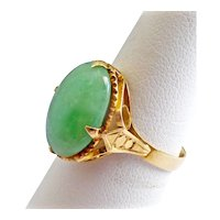 Natural Apple Green Jadeite Jade, Solid 18K Yellow Gold Ring, 7 1/2 US