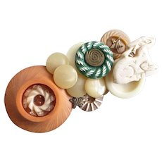 Artisan Brooch Pin of Vintage Buttons and Carved Bone Lamb