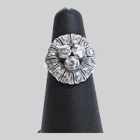 Art Deco Diamond and Platinum Cocktail Ring, Size 5