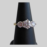 18K Gold Filled Ring with Triple CZ Stones, Size 7