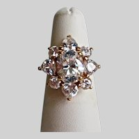 18K Gold Plate Cubic Zirconia Ballerina Ring,  Size 5 US