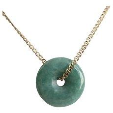 "Pretty Green Jade Donut, 7/8"" Diameter, Unisex"