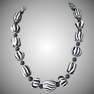 Black and White Striped Glass Artisan Chunky Necklace