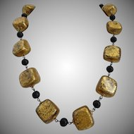 Gilt Wood Nuggets Artisan Lightweight Chunky Necklace, 20 Inches