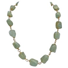 Light Green Beryl Nuggets Artisan Necklace, 19 Inches