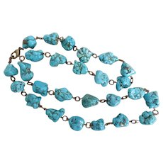 Artisan Necklace of Turquoise Nuggets, 25 Inches