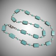 Turquoise Colored Artisan Czech Glass Necklace,  18 Inches