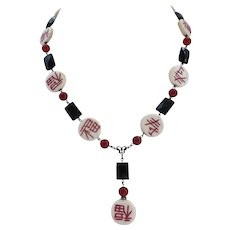 Artisan Necklace of Black Onyx, Carnelian and Hand Scripted Discs