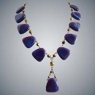 'Dusty' Purple Artisan Necklace of Vintage Glass