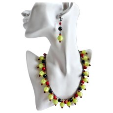 Artisan Necklace of Vintage Pale Lime Moonglow Beads with Earrings