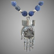 Sodalite with Pewter Double Sided Hand (Hamsa) Pendant
