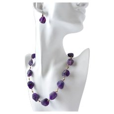 Matte  Amethyst Nuggets Artisan Necklace and Earrings, 19.5 Inches