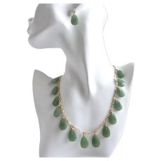 Hand Carved Natural Aventurine Leaves Necklace and Earrings