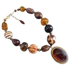 Super Chunky Statement Necklace in Amber and Brown Tones with Lucite Pendant