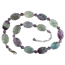 "Dreamy ""A"" Grade Rainbow Fluorite Necklace with Sterling Silver and Faceted Amethyst Accents,  19"" to 22"""