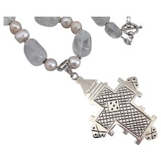 """Sterling Silver Coptic Cross Pendant on Quartz and Freshwater Pearls Necklace, 20"""""""