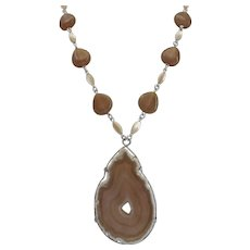 Caramel Colored Agate Slice with Vintage Glass and Mother of Pearls Beads,  20 ""