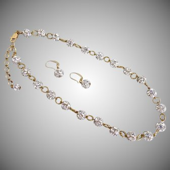 """Sparkling Necklace of Crystal Rhinestone Balls with Earrings,  21"""""""