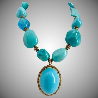 """Super Chunky Statement Necklace in Turquoise and Aqua Tones with Lucite Pendant, 17"""" to 21"""""""