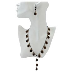 Black Vintage Bronze Framed Glass Window Beads Artisan Necklace, 21 inches