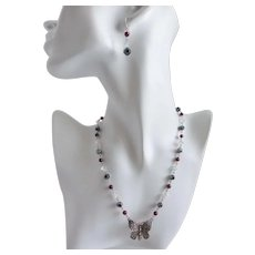 Artisan Sterling Silver Happy Butterfly Necklace with Garnet, Crystal and Hematite