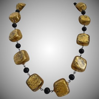 Gilt Wood Lightweight Nuggets,  Artisan Statement Necklace, 20 Inches