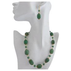 Artisan Necklace of Natural Aventurine Barrel Beads,  20 Inches