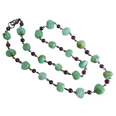 Natural Chrysoprase Nuggets and Garnet Necklace, 19.5""