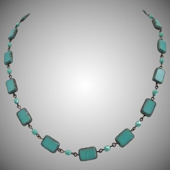 Turquoise Colored Czech Glass Artisan Necklace, 18 inches