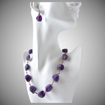 Matte Amethyst Artisan Necklace and Earrings, 19.5 Inches