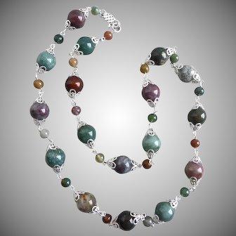 "Natural Multicolored Fancy (Rainbow) Jasper Necklace, 26"""