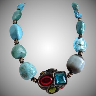 """Chunky Mixed Turquoise Colors and Mixed Materials One of a kind Necklace, 16"""" to 21"""""""
