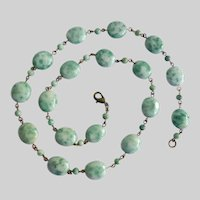 """Circlet Necklace and Earrings of Dreamy Qinghai Jade Ovals, 21"""""""