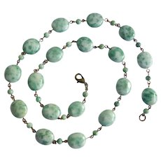 Circlet Necklace and Earrings of Dreamy Qinghai Jade Ovals, 21""