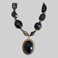 """Chunky Statement Necklace in Blacks and Gold Tones with Lucite Pendant, 17"""" to 21"""""""