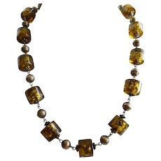 Amber Colored Art Glass Necklace, Vintage Beads, 21""