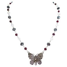 Sterling Silver Butterfly Artisan Necklace with Garnets, Swarovski Crystal and Hematite, 18""