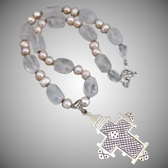 """Large Sterling Silver Vintage Cross Pendant on Quartz and Freshwater Pearls Artisan Necklace, 20"""""""