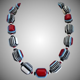 Necklace of Vintage Striped and Geometric Multicolored  Resin Beads, One of a Kind