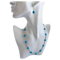 Sterling Silver and Turquoise Necklace and Earrings
