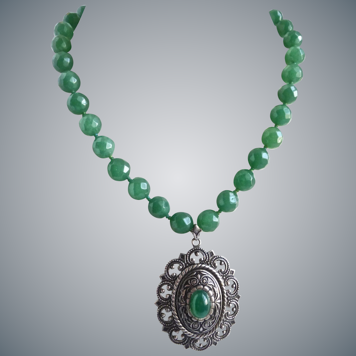 53332fea9542b Faceted Green Aventurine Necklace with Vintage Pendant and Matching  Earrings, One of A Kind
