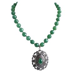 Faceted Green Aventurine Necklace with Vintage Pendant and Matching Earrings, One of A Kind