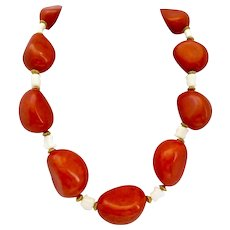 """Orange Tagua Nut and White Coral Necklace, 20"""""""