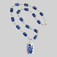 Lapis and Sterling Silver Necklace with Porcelain Pendant