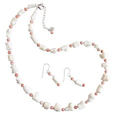 Necklace of Vintage White and Pink Coral, Sterling and Matching Earrings