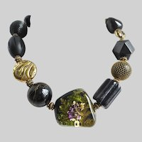 """Chunky Artisan Necklace with Large Center """"Garden"""" Bead"""