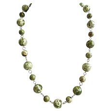 """Necklace of Beautiful Large Green Rhyolite with Earrings, 22"""" Long"""